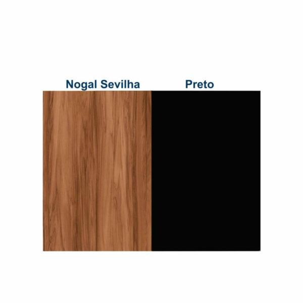 """8449037819 cores Mesa Escritório em """"L"""" c/ Gaveteiro 1,70x1,60m - WORK START - NOGAL SEVILHA/PRETO - 21423"""