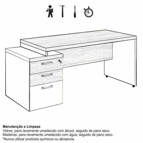 8452581425 manual limpeza Mesa PEDESTAL RETA (03 Gav.) - 1,92X0,70m - WORKSTART - NOGAL SEVILHA/PRETO - 21405