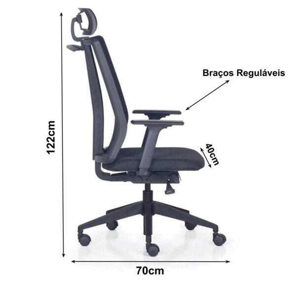 8509039371 medidas 1 Cadeira PRESIDENTE ADDIT Tela Giratória - Cor Preta - FRISOKAR - 32999