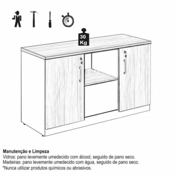 8539221339 Manual Armário Baixo Credenza - 1,20x0,74X0,45m - WORKSTART - NOGAL SEVILHA/PRETO - 21412