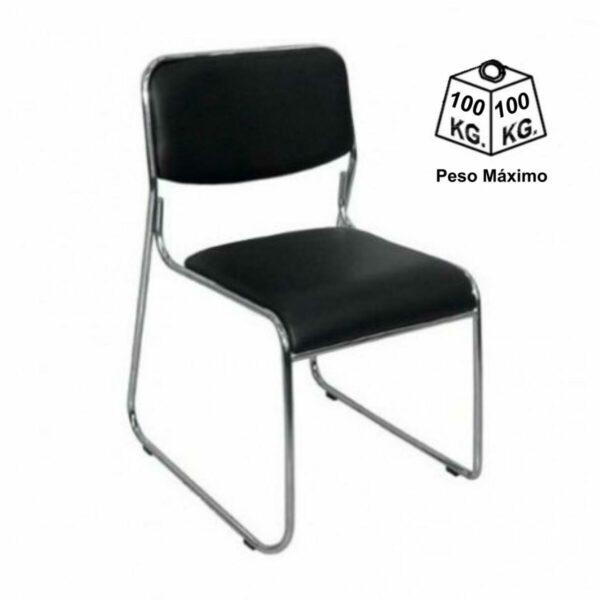 8592815503 peso Cadeira de Escritório Fixa Cromada DAKAR - COR PRETO - 31100