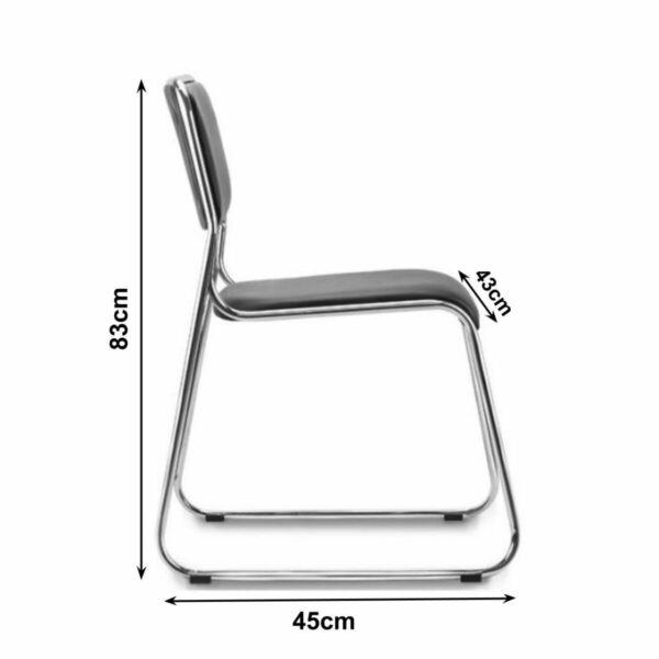 8592816014 medidas Cadeira de Escritório Fixa Cromada DAKAR - COR PRETO - 31100