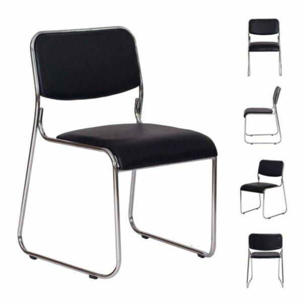 8592816827 todas Cadeira de Escritório Fixa Cromada DAKAR - COR PRETO - 31100