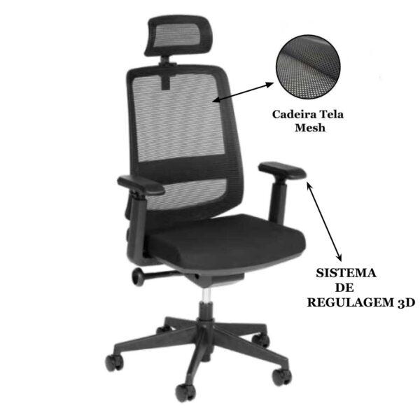 9250962912 sistema203d 3 Cadeira Presidente Tela TUNE Home Office C/ Encosto de Cabeça - AVANTTI - 32993