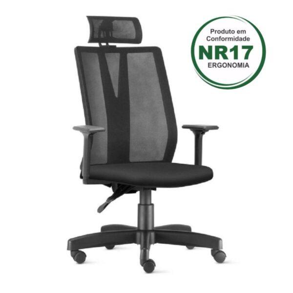 9489083384 selo cadeira 2 Cadeira PRESIDENTE ADDIT Tela Giratória - Cor Preta - FRISOKAR - 32999
