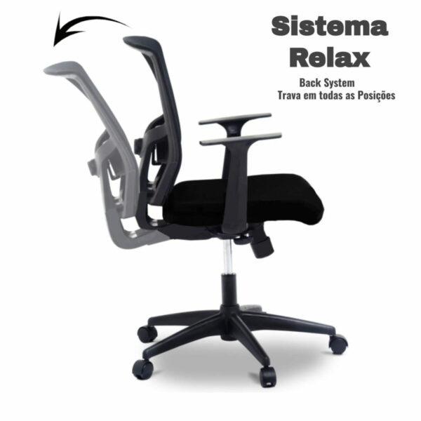 9687016302 preto 2 Cadeira de Escritório Giratória Diretor Tela BLM0226 - 32985