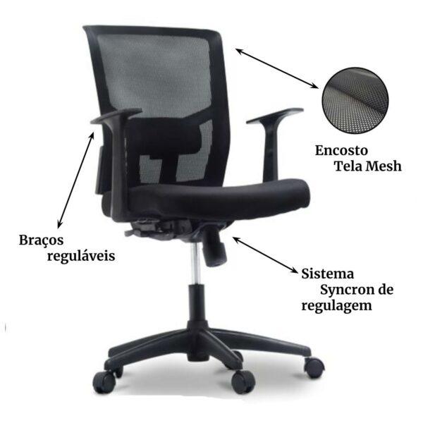9687049116 blm 2 Cadeira de Escritório Giratória Diretor Tela BLM0226 - 32985