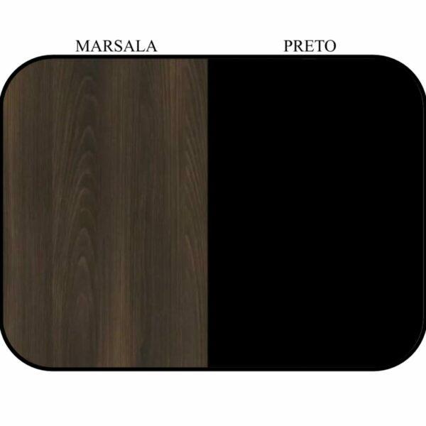 "9748274777 cor Mesa em ""L"" (Mesa 1,50m + Mesa Auxiliar) - C/ 02 GAVETAS - WORKSTART - MARSALA / PRETO - 23477"