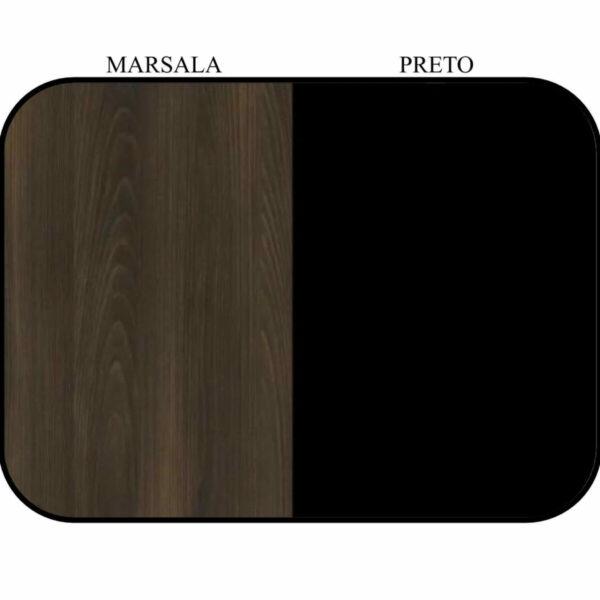 9956102188 cor Armário Baixo 03 Gavetas e Porta (MISTO) - WORKSTART - MARSALA/PRETO - 51007
