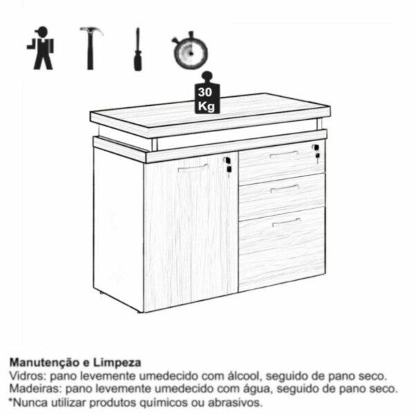 9956111725 IMG 2195 Armário Baixo 03 Gavetas e Porta (MISTO) - WORKSTART - MARSALA/PRETO - 51007