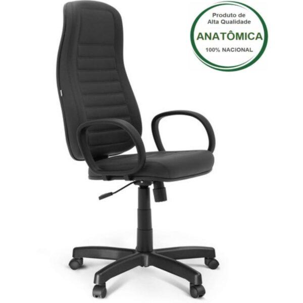 Desenho sem titulo 10 Cadeira Escritório Presidente ALTA c/ BRAÇO CORSA - COR PRETO -MARTIFLEX - 32958