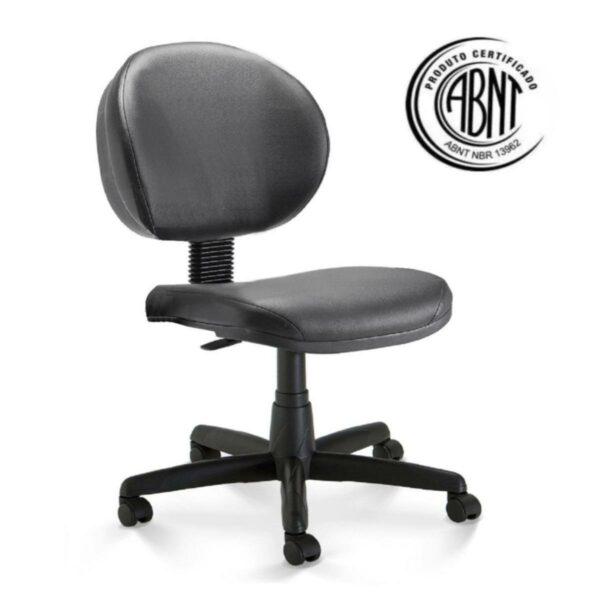 exec Cadeira Escritório Executiva PLUS LISA S/ BRAÇOS - COR PRETO - PLAXMETAL - 32976