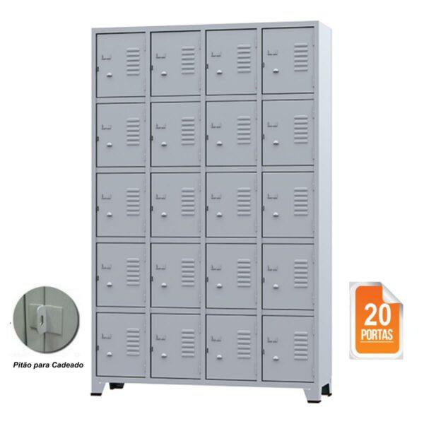 rop 20 portas amapa 1 Roupeiro de Aço 20 portas Pequenas - 1,96x1,23x0,36m - CZ/CZ - AMAPA - 10109