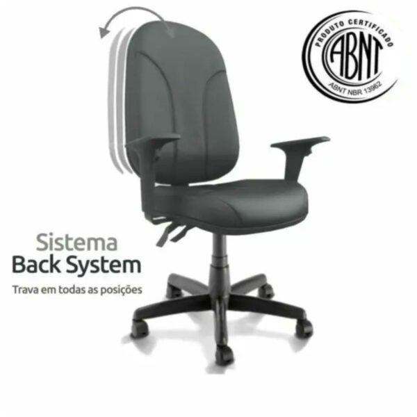 sistema ck Cadeira Presidente PLUS BACK SYSTEM Baixa Costurada c/ Braços Reguláveis - Corino Preto - PLAXMETAL - 32974