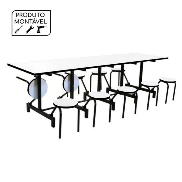 12400043275 Produto20montavel 1 Mesas p/ Refeitório Escamoteável 10 Lugares - MDF BRANCO DE 25 MM - 50043