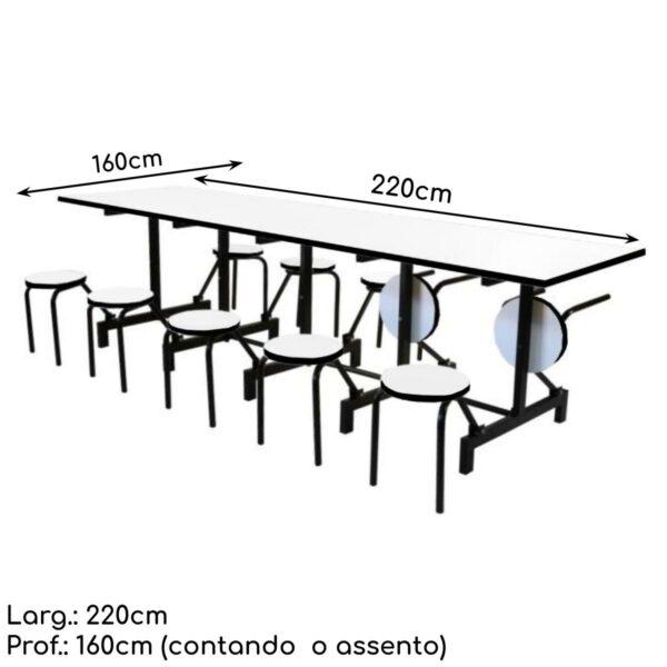 12400198418 Mesa medidas Mesas p/ Refeitório Escamoteável 10 Lugares - MDF BRANCO DE 25 MM - 50043