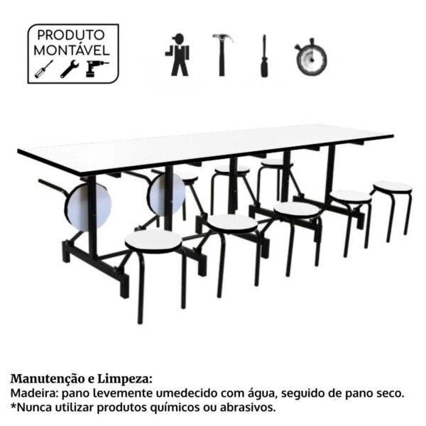 12400281620 Produto20montavel Mesas p/ Refeitório Escamoteável 10 Lugares - MDF BRANCO DE 25 MM - 50043