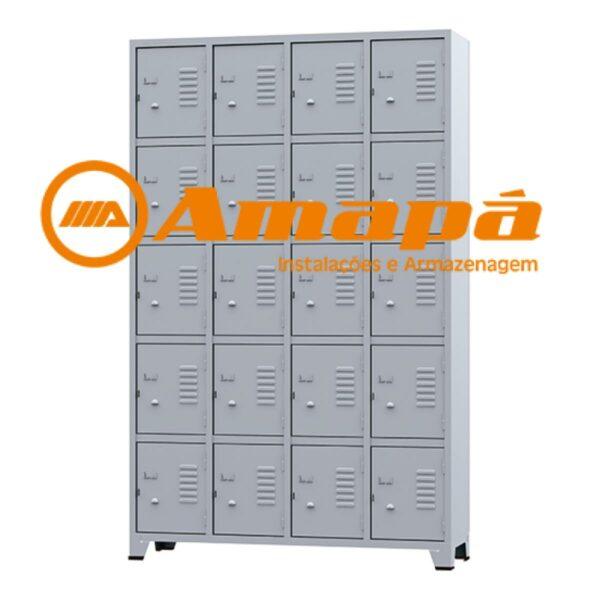 12455978016 rop202020portas20amapa20logo Roupeiro de Aço 20 portas Pequenas - 1,96x1,23x0,36m - CZ/CZ - AMAPA - 10109