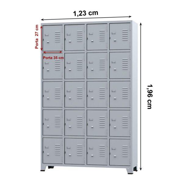 12455979944 rop202020portas20amapa20med Roupeiro de Aço 20 portas Pequenas - 1,96x1,23x0,36m - CZ/CZ - AMAPA - 10109