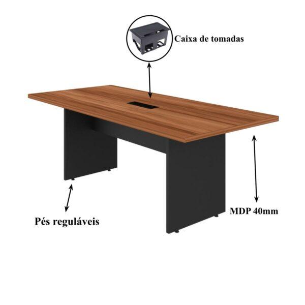 12814327861 caixa 1 Mesa de Reunião 2,00×0,90m C/ Caixa de Tomada – WORKSTART – NOGAL SEVILHA/PRETO – 21403