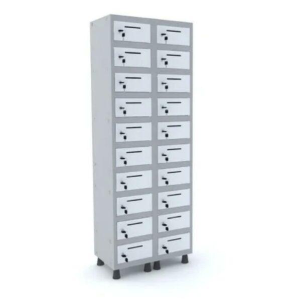 Armário Caixa Postal 1,94x0,69x0,40m - Cor Cinza - PANDIN - 10011