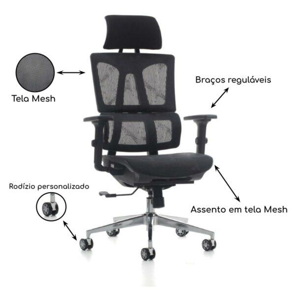 13018561168 pr Cadeira Presidente Tela MK - 4011 - COR PRETO - MAKKON - 30038