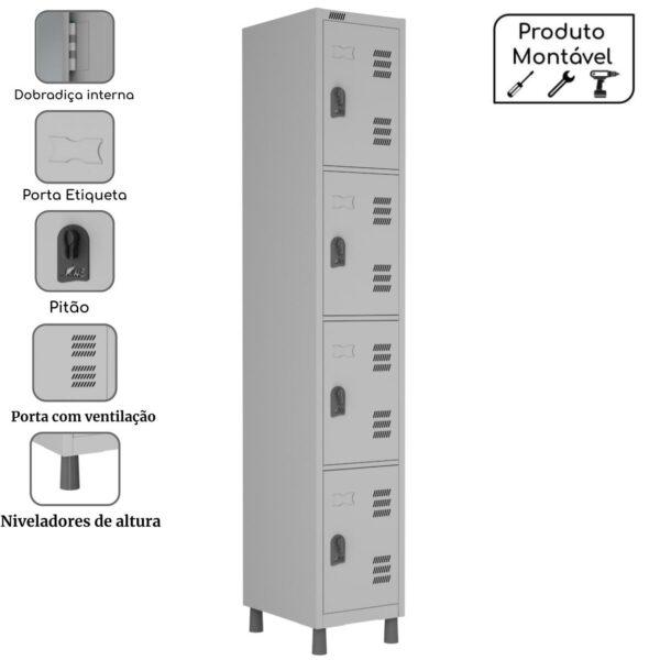 14209266630 04pts 1 Roupeiro de Aço c/ 04 Portas Pequenas - 1,82x0,32x0,42m - CZ/CZ - W3 - 10016