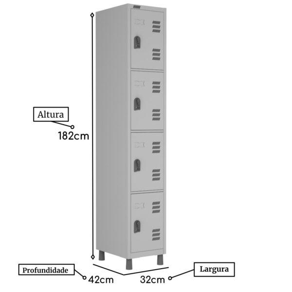 14209376005 04 1 Roupeiro de Aço c/ 04 Portas Pequenas - 1,82x0,32x0,42m - CZ/CZ - W3 - 10016