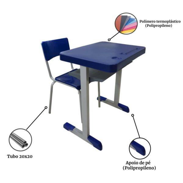 13537054501 tubo Conjunto Escolar c/ apoio para livros – (Mesa e Cadeira) – JUVENIL 06 a 09 Anos – REALPLAST – 40999