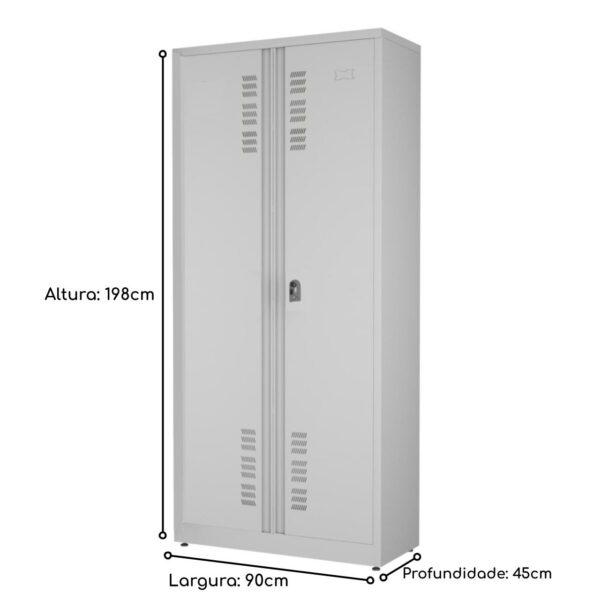 14563382542 medidas Armário de Aço PA-90 Montável - 1,98x0,90x0,45m - CHAPA # 26 - W3 - CZ/CZ - 17001