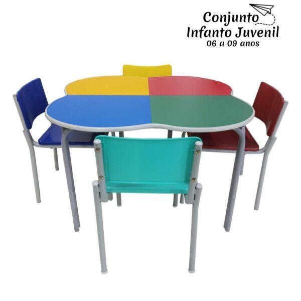 Desenho sem titulo 2 Conjunto TREVO c/ 04 Cadeiras - FORMICADA - JUVENIL 06 a 09 Anos - MR PLAST - 41093